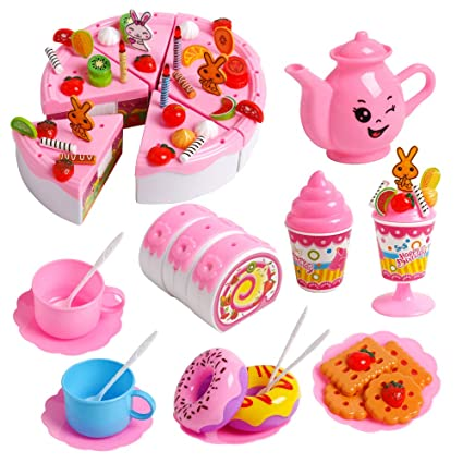 JCREN 99Pcs Pretend Play Cutting Cake Toy Kit Birthday Candles Fruit Dessert Decorating Light Party Early