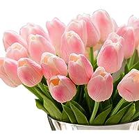 Gkongu, bouquet di tulipani artificiali con 10fiori realistici in lattice ideali per decorare feste e matrimoni