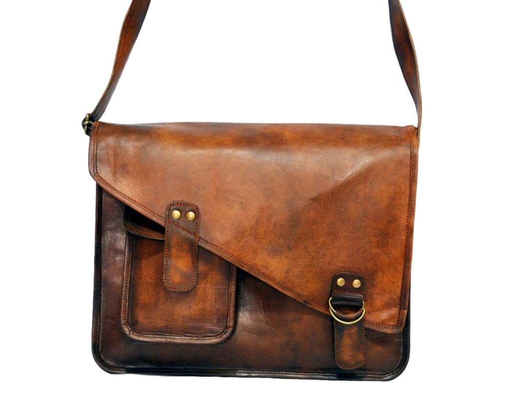 Artishus Vintage Brown 15'' Leather Messenger Bag for Men & Women   Business Laptop Briefcase for School/College/Office