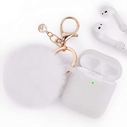 separation shoes 9389f eb5d4 Airpods Case - Filoto Airpods Silicone Glitter Cute Case Cover with  Pompom/Keychain/Strap for Apple Airpods 2&1, 2019 Newest 360° Protective  Air Pods ...