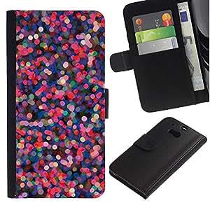 A-type (Pink Purple Dots Abstract Red Lights) Colorida Impresión Funda Cuero Monedero Caja Bolsa Cubierta Caja Piel Card Slots Para HTC One M8