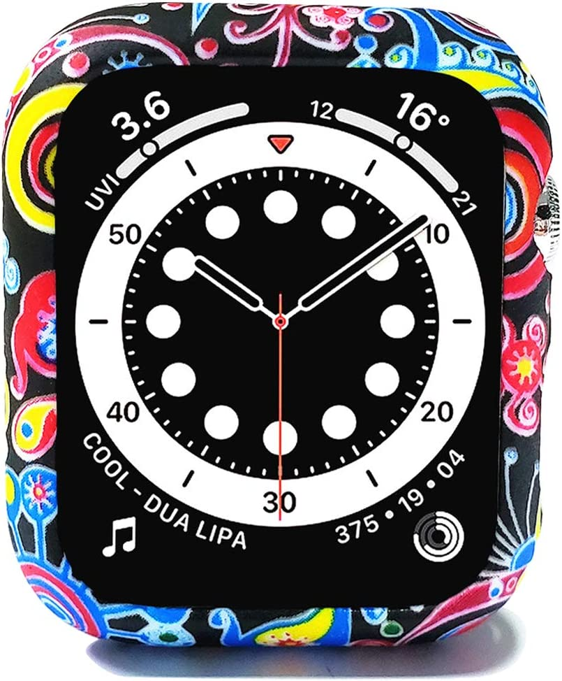 Compatible with Apple Watch SE Series 6 5 4 40mm 44mm Floral Silicone Case Bumper Resistant Impact Resistant Protective for Apple Watch 40mm 44mm