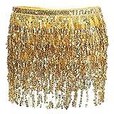 Women's Summer Beach Wrap Sequins Tassel Mini Skirts Music Festival Hip Scarf Skirt (Gold, One Size)