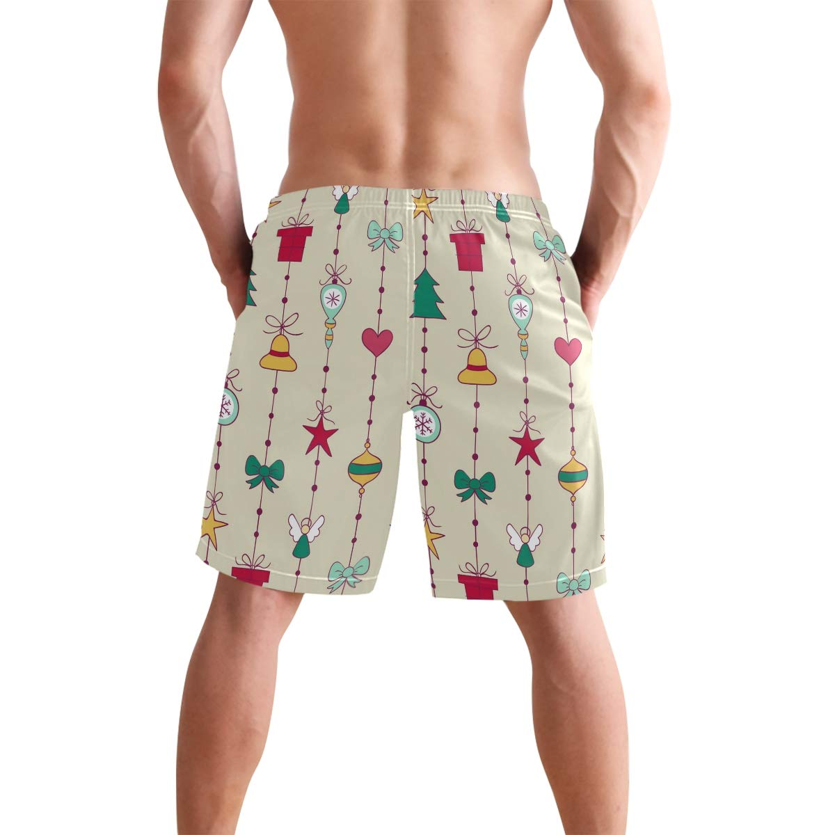 JECERY Mens Swim Trunks Vintage Christmas Angle Bell Tree Quick Dry Board Shorts with Drawstring and Pockets