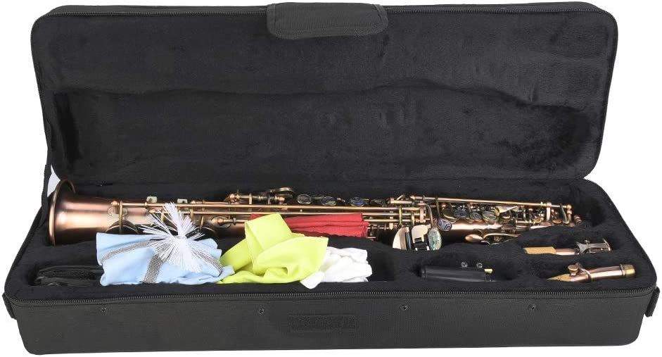 Antique Red Copper B Flat Saxophone Kit Professional Soprano Straight Sax Musical Instrument with Carrying Bag