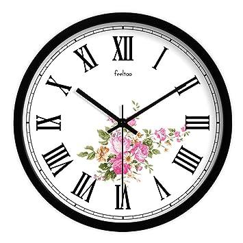 HomeClock Reloj de Pared Retro rústico números Romanos gráficos de Pared metálicos nostálgicos clásicos Silencio Reloj de Cuarzo 14 Pulgadas B2: Amazon.es: ...