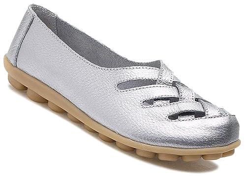 Fangsto De Las Mujeres Zapatos de Cuero Planos Mocasines Sandalias Slip Ons: Amazon.es: Zapatos y complementos