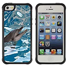 Lady Case@ Happy Dolphin Water Sea Blue Reflection Rugged Hybrid Armor Slim Protection Case Cover Shell For iphone 5S CASE Cover ,iphone 5 5S case,iphone5S plus cover ,Cases for iphone 5 5S