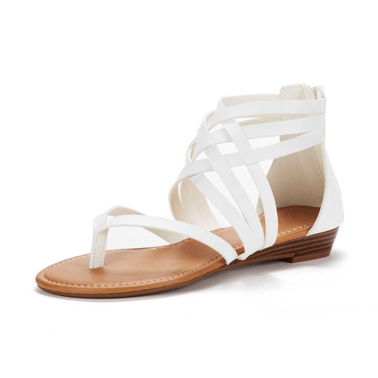 DREAM PAIRS Women's JUULY_02 White Fashion Gladiator Design Ankle Strap Flat Sandals Size 7.5 M US