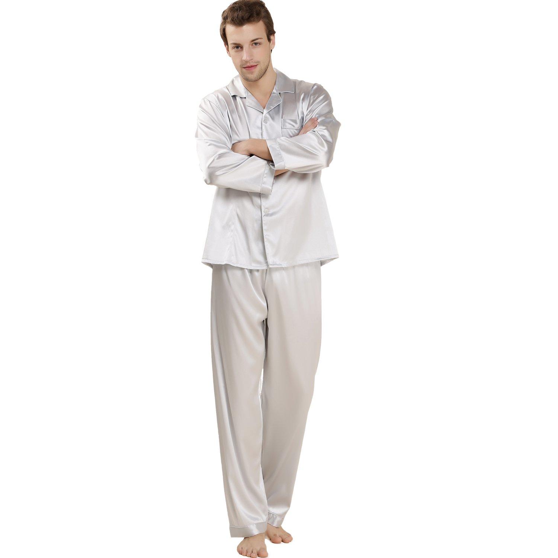 LoveSilk Men's 19 mm Silk Pajamas Luxury Sleepwear Gift Light Grey Size M