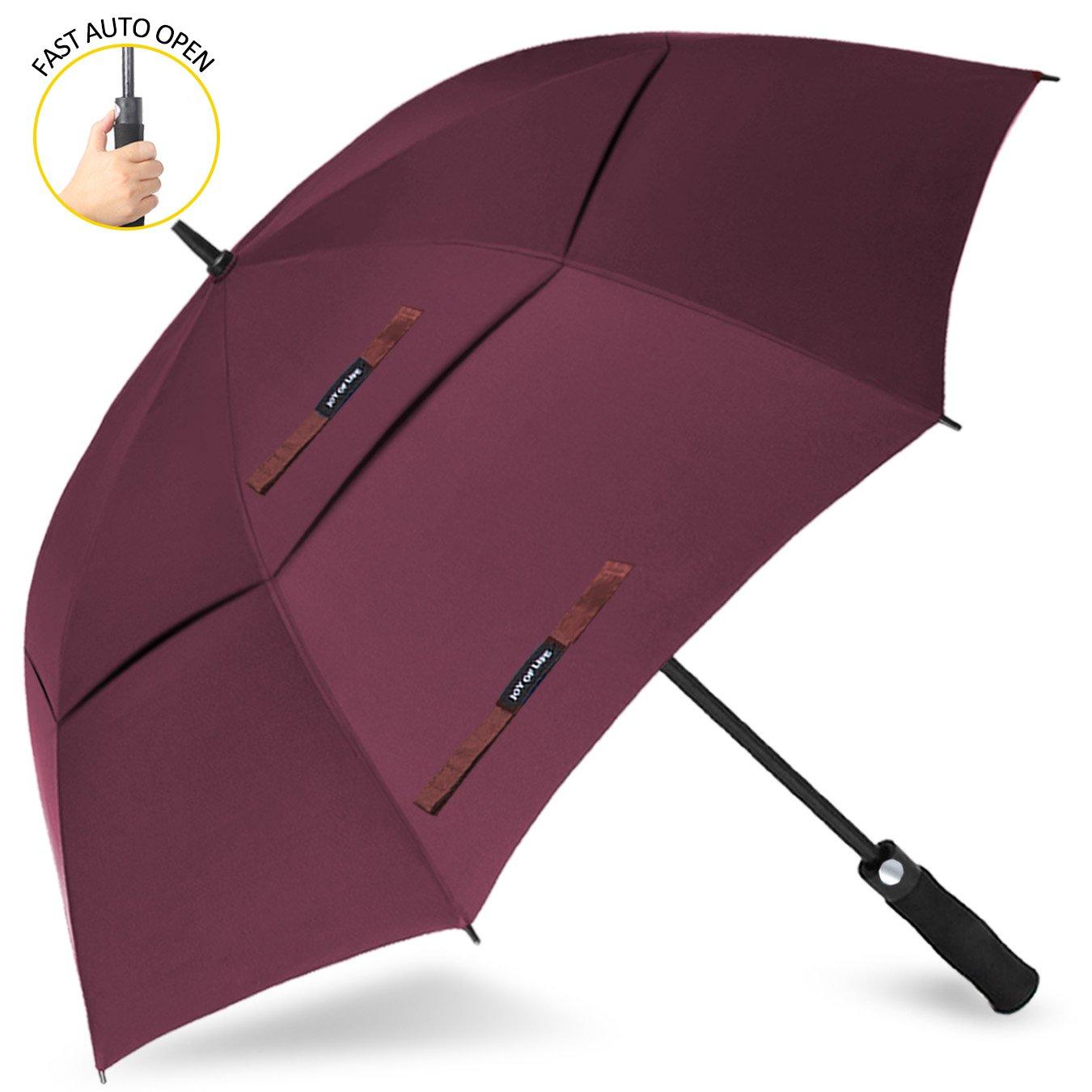 ゴルフ傘 長傘 ワンタッチ 自動開け大きな傘 100cm 梅雨対策 台風対応 ビジネス用 メンズ B072R5R8T5 傘の長さ100cm(62inches)|赤 赤 傘の長さ100cm(62inches)
