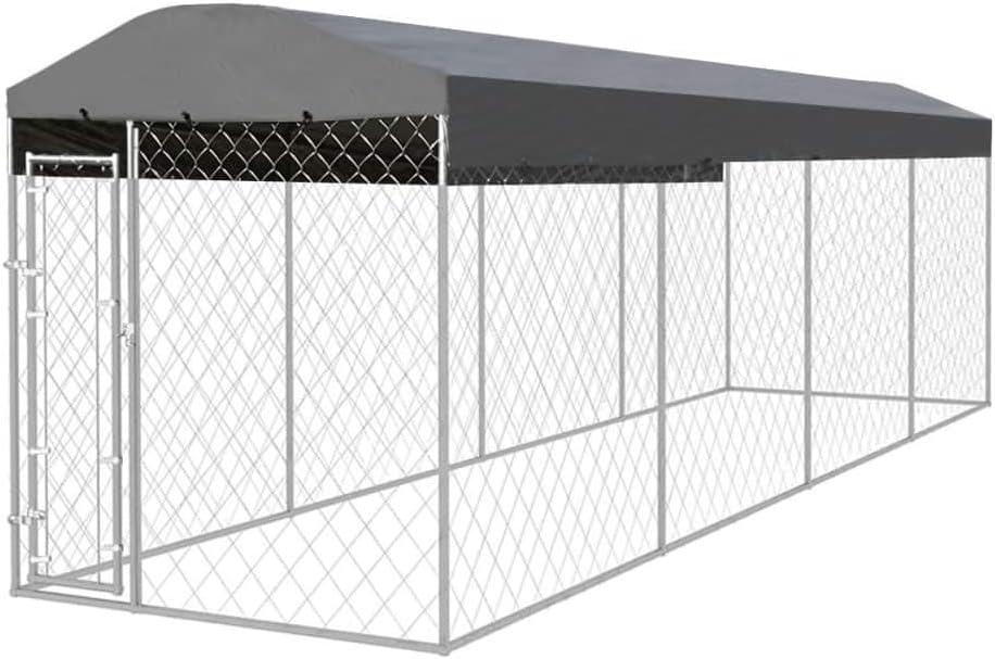 vidaXL Perrera para Exterior 8x2x2,4 m Acero Galvanizado 16 m² ...