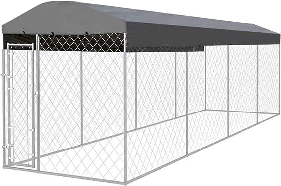 vidaXL Perrera para Exterior 8x2x2,4 m Acero Galvanizado 16 m² Jaula de Perros