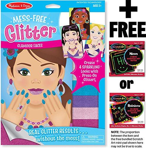 Melissa & Doug Glamour Faces - Mess Free Glitter Series + FREE Scratch Art Mini-Pad Bundle [95051] -  BCC9547150