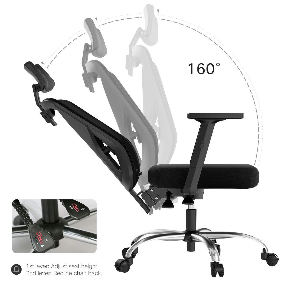 Bianco Hbada Sedia da Ufficio ergonomica Sedia da Ufficio in Rete Sedia da Ufficio Regolabile braccioli Supporto Lombare