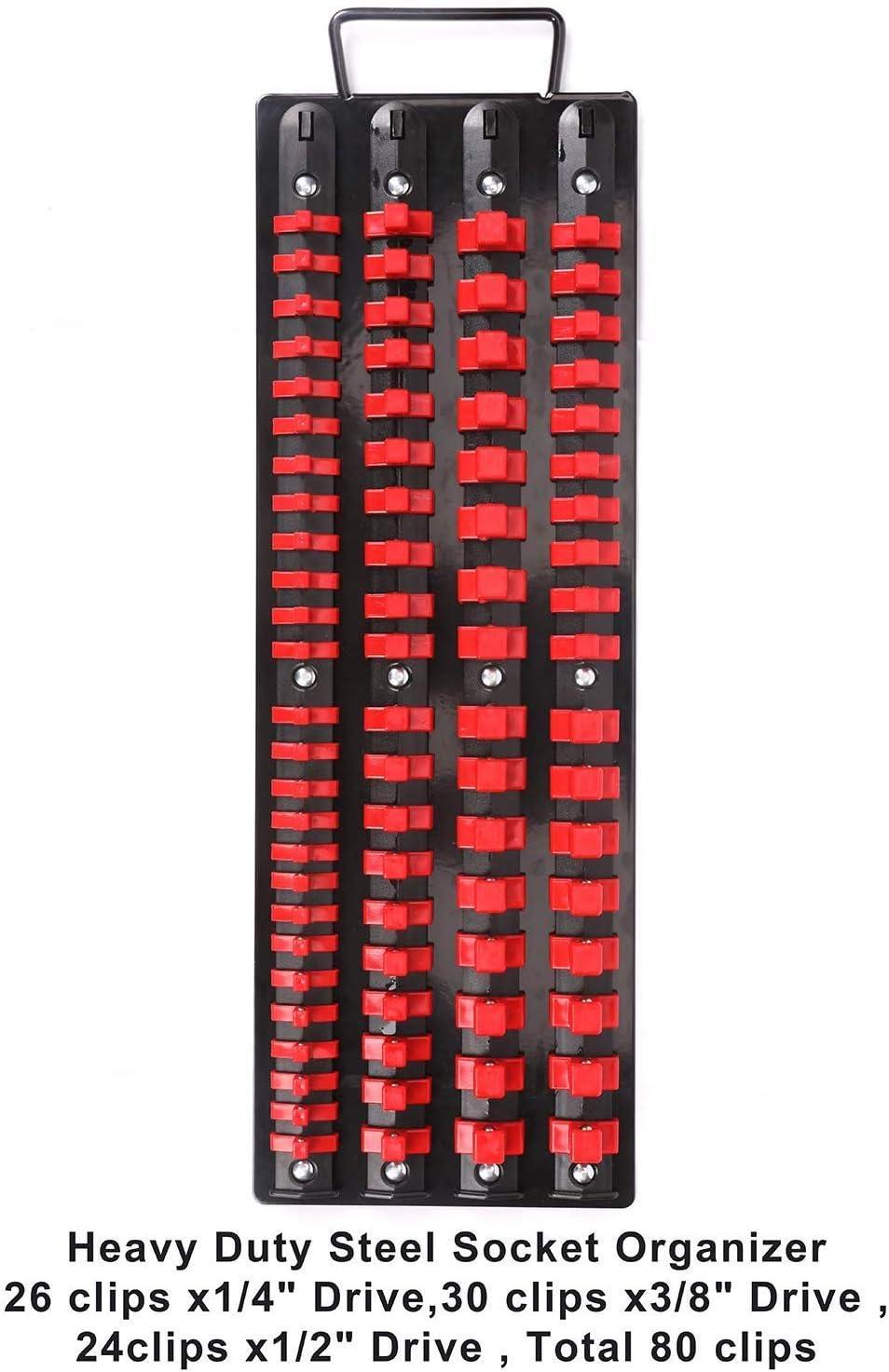 3//8 pulgadas para llaves de vaso de 1//4 pulgadas Azul/&Rojo capacidad para 80 1//2 pulgada Organizador de 80 piezas 3-H Organizador de llaves de vaso