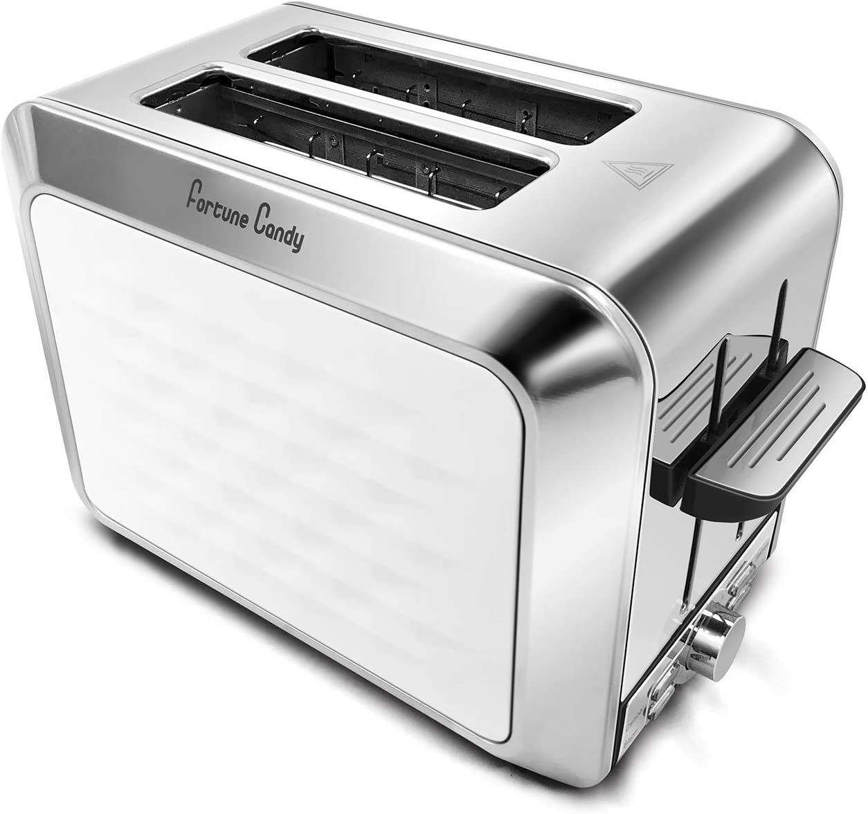 Fortune Candy Toaster, Diamond Pattern, 2 Slice, Stainless Steel, Toaster for Bagels, Wide Slots Toaster (White)