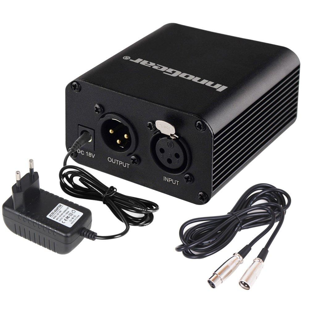 InnoGear 48v Alimentation Fantôme Pour Micro Phantom Avec Adaptateur et Un XLR Câble Audio