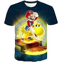 AMCYT Super Mario T-shirt, flicka, barn, unisex kortärmad 4–14 år