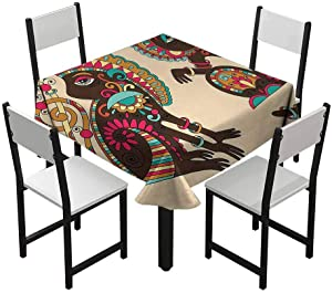 Zara Henry Tribal Anti-Wrinkle Tablecloth Tribal Patterns on a Monkey Tailed Posing Animal Wildlife Creatures Print Home Outdoor Rectangular Tablecloth Multicolor