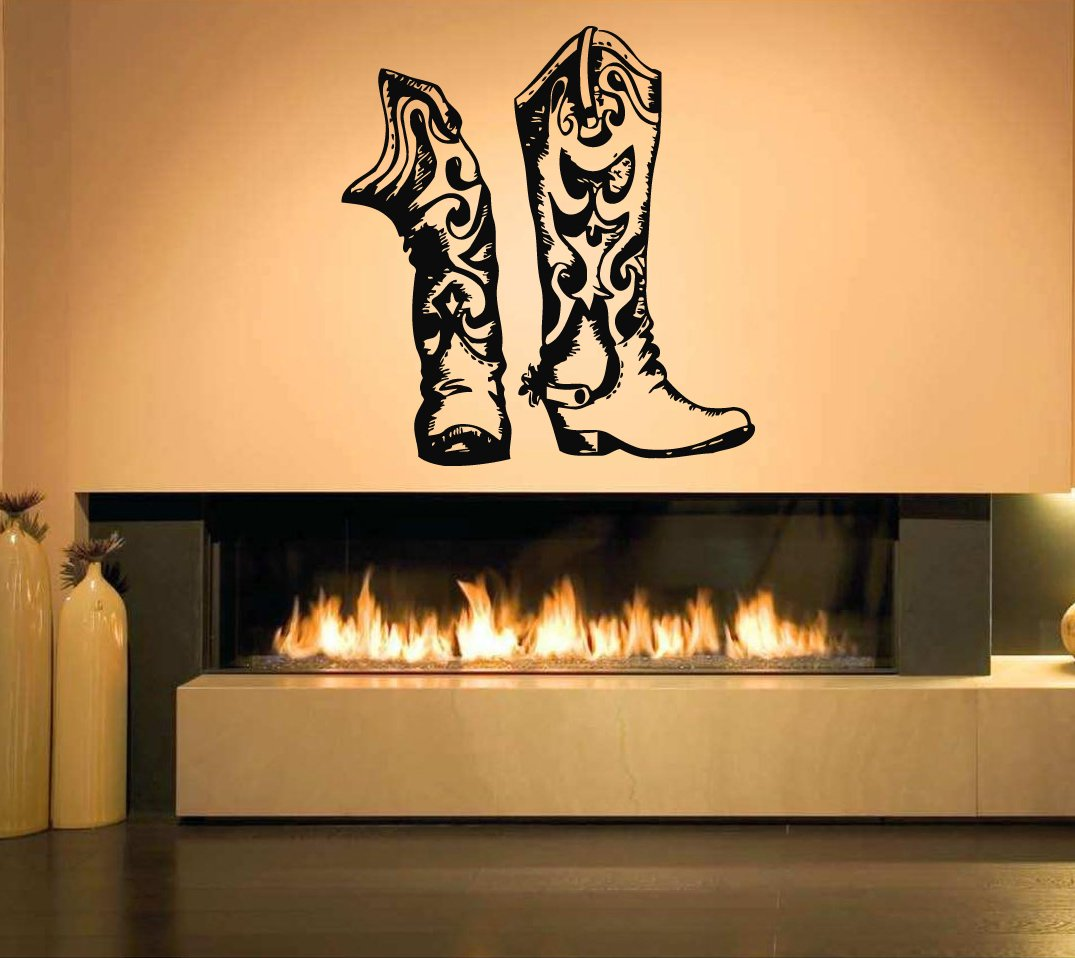 Wall Sticker Decal Wild West Country Cowboy Hat Western Quote Horse Bull Rodeo Texas Boots Guitar 2048b by BeStickers