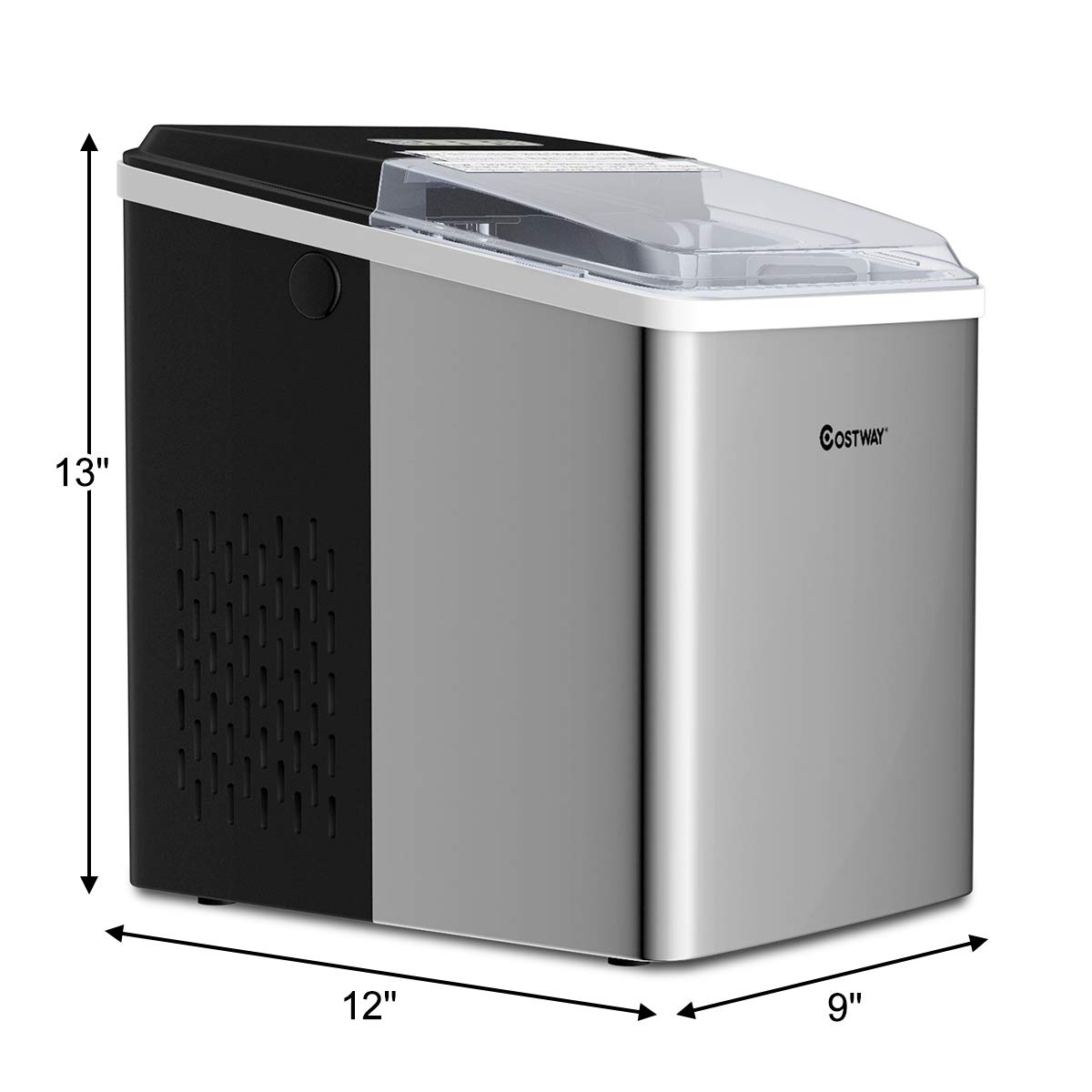 Bar and Restaurant 26LBS//24H for Home Ice Cubes Ready in 7 Minutes with Ice Scoop COSTWAY Ice Maker 26LBS//24H Portable Electric Countertop Ice Machine Stainless Steel with Self-clean Function