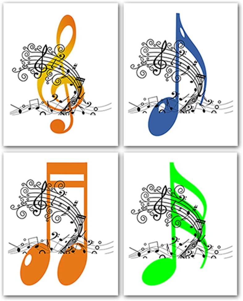 4 Set-Music Notes Wall Decor, Music Canvas Wall Art Home Accessories, First Choice for Gifts,8x10in,Frameless