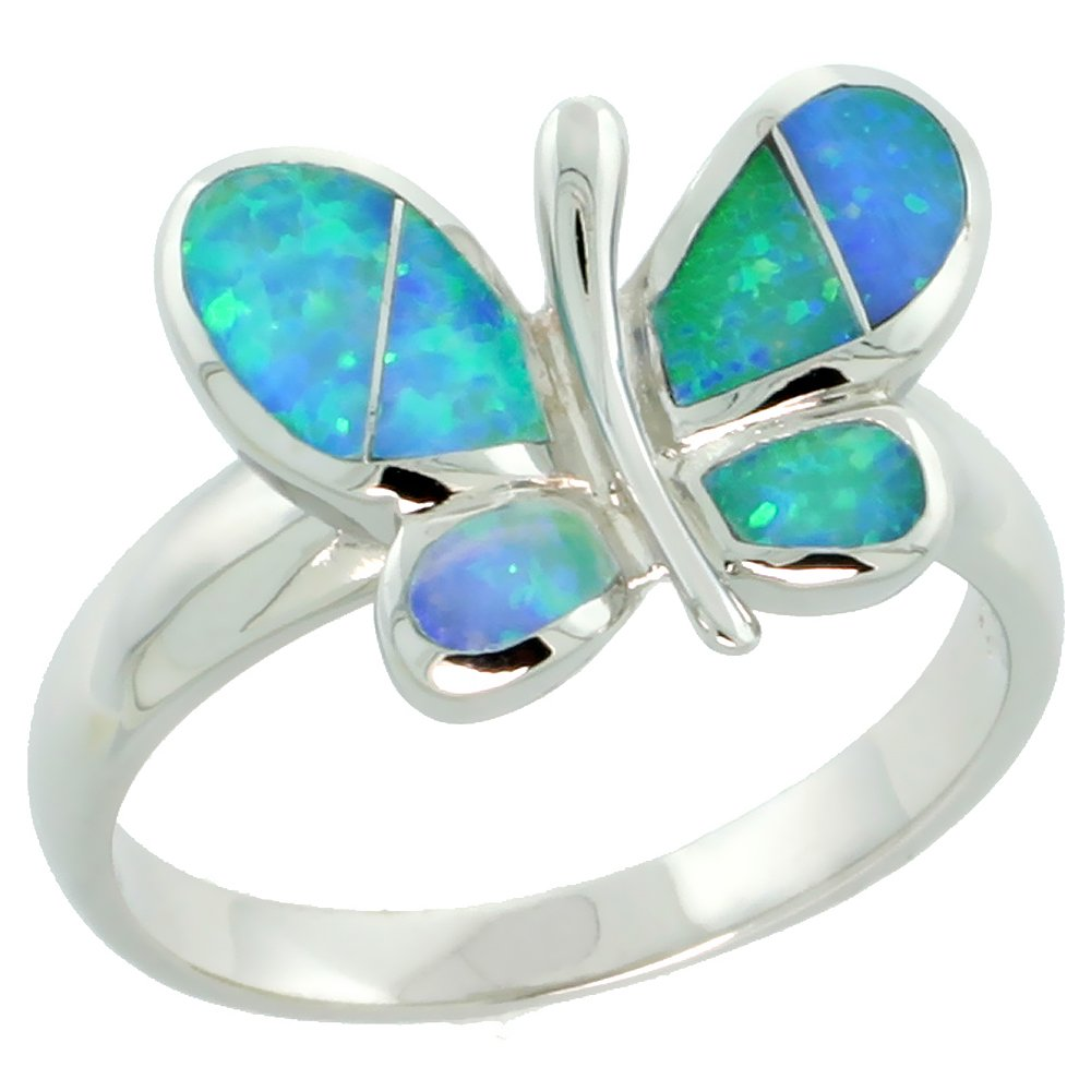 Sterling Silver Blue Synthetic Opal Butterfly Ring for Women 7/16 inch size 8