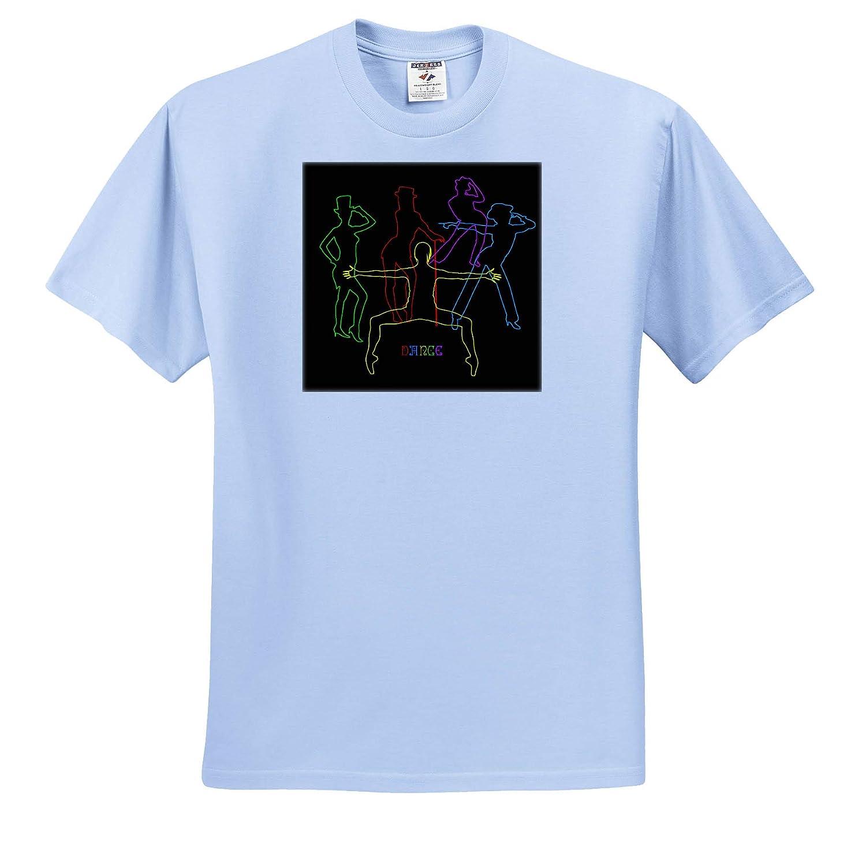 T-Shirts 3dRose Alexis Design Positive Decor Colorful Silhouettes of Female Jazz Dancers on Black Dance
