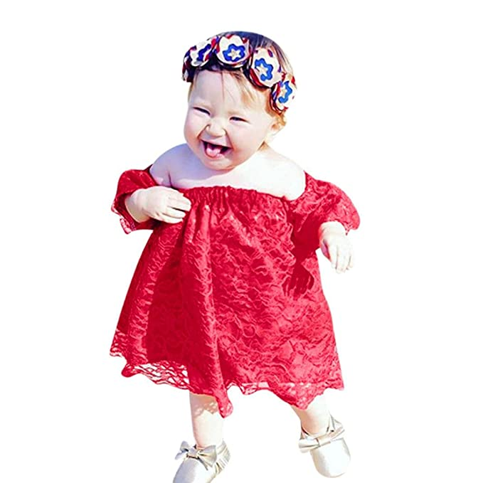 c438edd118 Minisoya Summer Toddler Infant Baby Girls Floral Lace Dress Cute Princess  Pageant Prom Party Off Shoulder