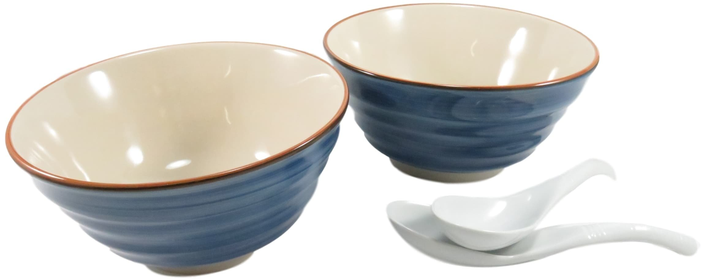 Ceramic Bowl Ramen Noodle Udon Donburi Rice 24 fl oz Ocean Blue with (2) Porcelain Spoons White (4 Piece Set)