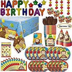 Curious George theme Party Supplies for 8: Plates, Napkins, Table cover, Cups, Hats, Cutlery, Decorations, Banner, Loot Bags, Stickers, Balloon Happy Birthday Banner