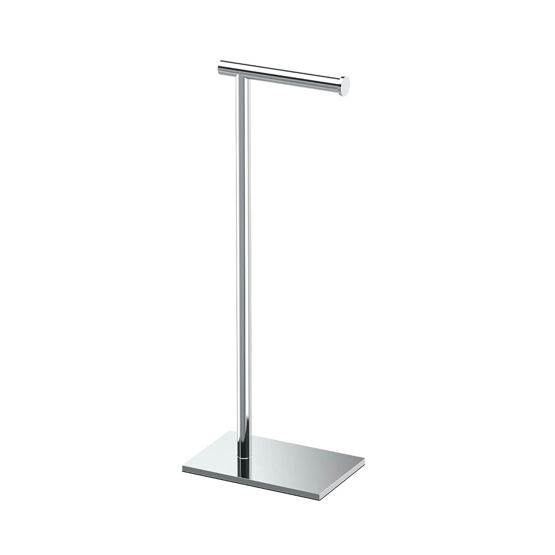"""Modern Square Base Tissue Holder Stand, 21.25"""", in Chrome"""