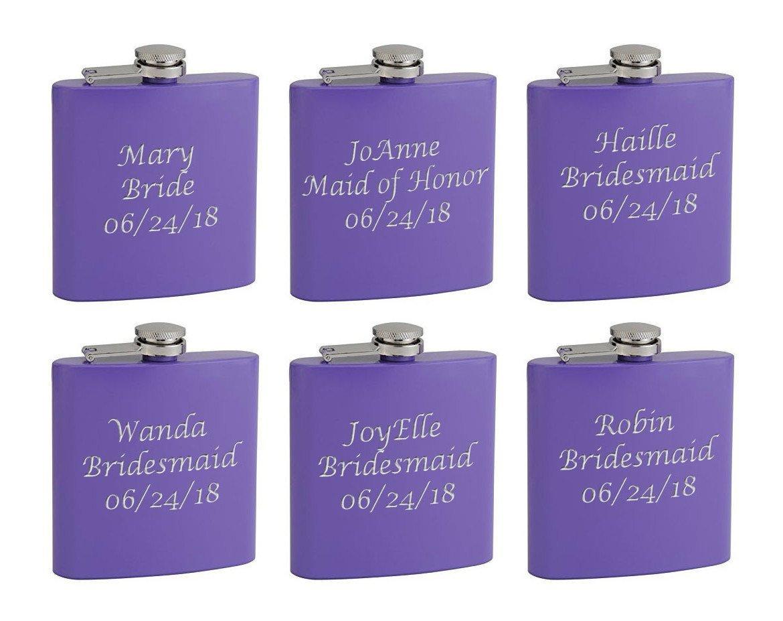 Top Shelf Flasks 6-Pack Personalized (Custom Engraved) 6oz Bridal Party Hip Flasks, Pink or Purple (Purple)