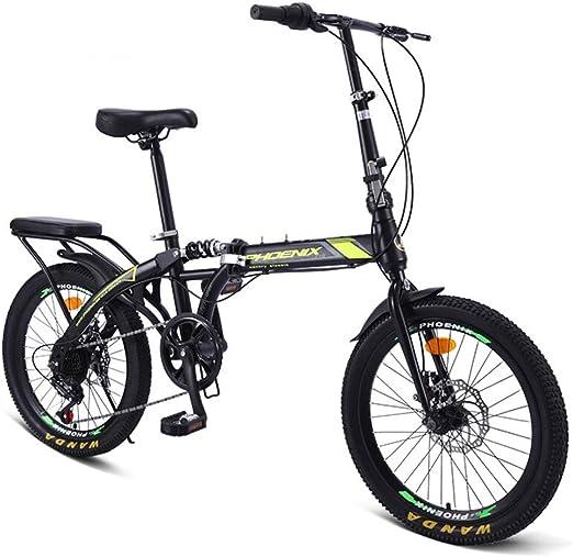 ZTIANR Bicicletas Plegables, De 20 Pulgadas Frenos De Disco Amortiguador De Velocidad Variable Bicicleta Bicicleta De Adulto Estudiante De Bici (Verde Negro): Amazon.es: Jardín