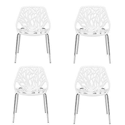 Astonishing Amazon Com Fancy Dining Chairs Set Of Four Plastic Metal Uwap Interior Chair Design Uwaporg
