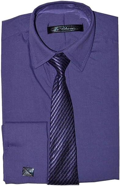 Fácil Poshtotz lila de camisa, corbata y gemelos de 1 hasta 15 años ...