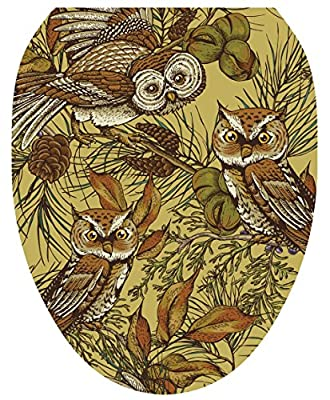 Toilet Tattoos, Toilet Seat Cover Decal, Owls in Pine , Size Elongated