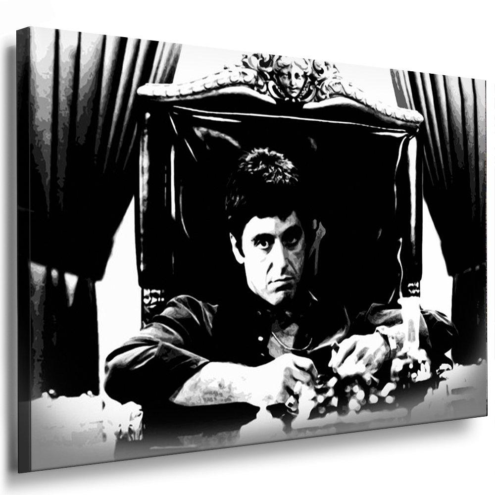 Scarface - Al Pacino Leinwand Bild 100x70cm k. Poster   Bild fertig auf Keilrahmen   Pop Art Gemälde Kunstdrucke, Wandbilder, Bilder zur Dekoration - Deko. Film   Movie   Tv Stars Kunstdrucke