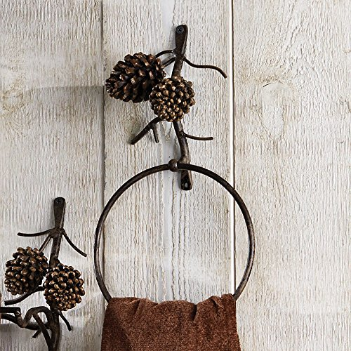 Pine Bough Rustic Towel Ring - Rustic Bathroom Decor Pinecone Bathroom Accessories