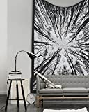 "Popular Locust Trees From Below Intricate Floral Design Indian Bedspread Black & White Urban Tapestry, 54"" x 82"" (140cm x 15cm)"
