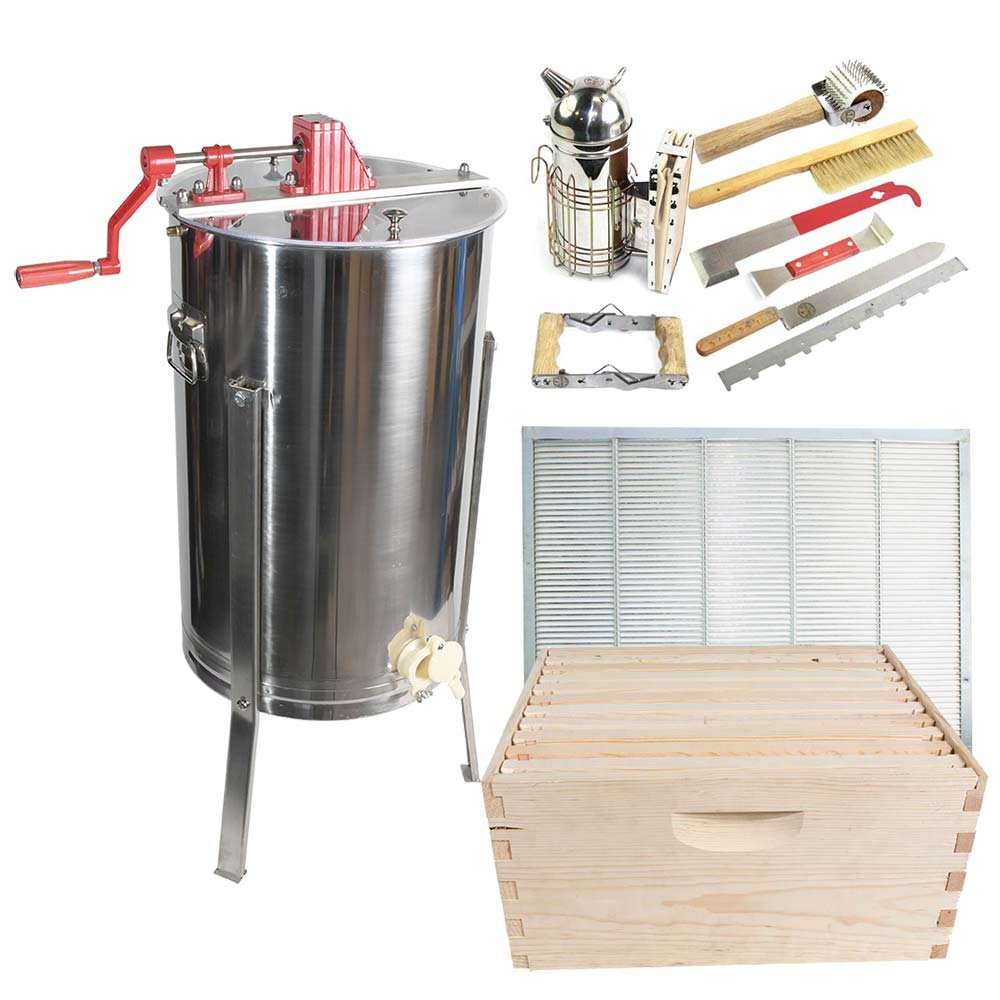Goodland Bee Supply 2 Frame Honey Extractor,with 2 complete Super hives and frames and Complete Beekeepers tool kit - GLESUPERX2CTS1 by Goodland Bee Supply®