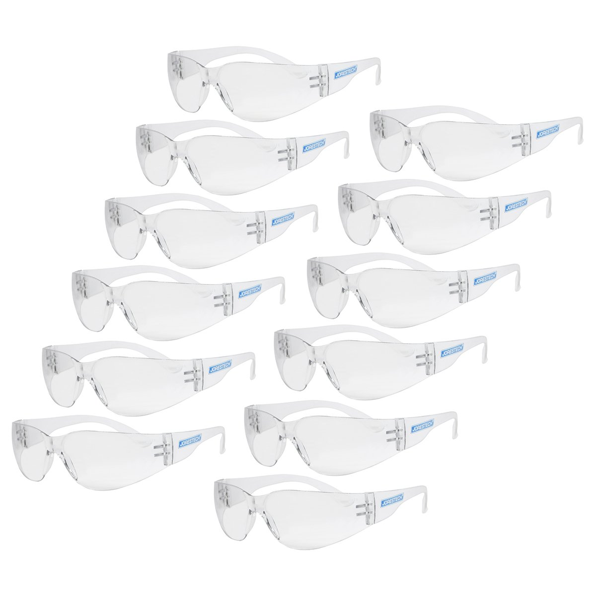 JORESTECH Eyewear Protective Safety Glasses, Polycarbonate Impact Resistant Lens Pack of 12 (Clear) by JORESTECH (Image #1)