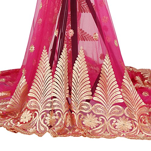 African Fabric Embroidery French Lace by the Yard (Fuchsia Pink) (French Fabric Material)