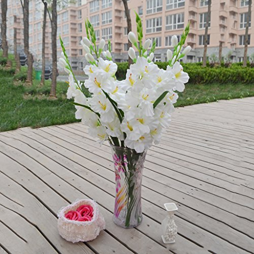 DYNWAVE Artificial Flowers Fake Silk Gladiolus Flowers with Stem for Flower Arrangement Wedding Home DIY Decor, Colors Choice - White ()