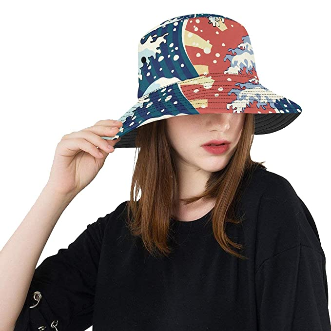 47104a05aab19 Traditional Japanese Style Pattern New Summer Unisex Cotton Fashion Fishing  Sun Bucket Hats for Kid Teens