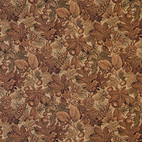 Beige Tan and Brown Fall Forest Foliage Tapestry Upholstery Fabric by the yard