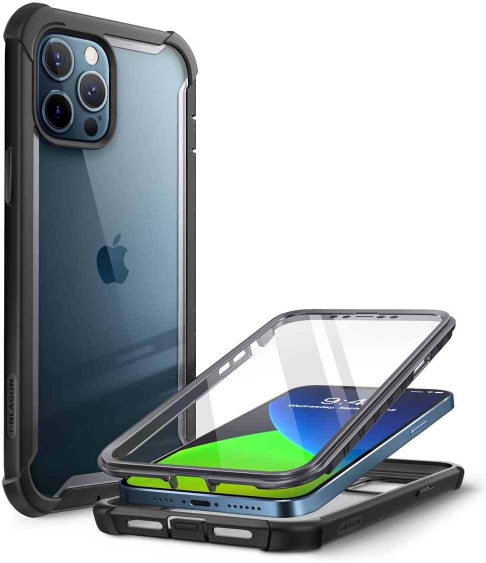 i-Blason Ares Case for iPhone 12 Pro Max 6.7 inch (2020 Release), Dual Layer Rugged Clear Bumper Case with Built-in Screen Protector (Black)