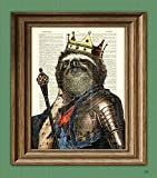 THE KING of the SLOTHS with crown, robes, armor, and Scepter illustration beautifully upcycled dictionary page book art print