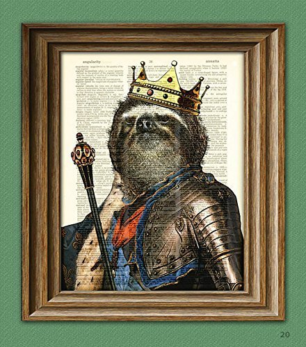 THE-KING-of-the-SLOTHS-with-crown-robes-armor-and-Scepter-illustration-beautifully-upcycled-dictionary-page-book-art-print